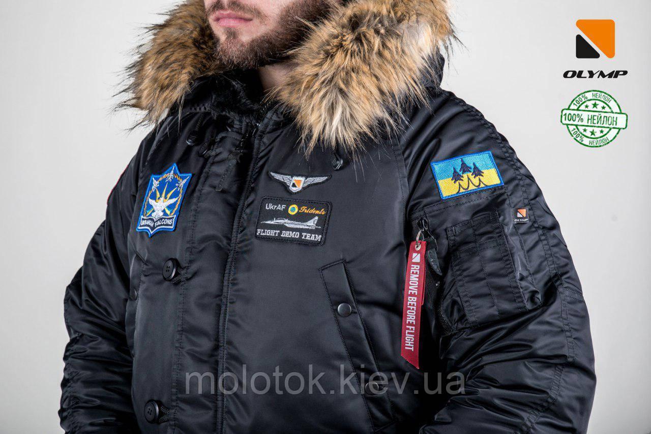 Чоловіча зимова парку куртка аляска Olymp c нашивками патчами - аляска N-3B