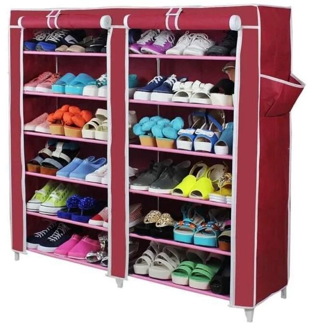 Тканевый шкаф для обуви из 2х секций Т-2712 Фиолетовый