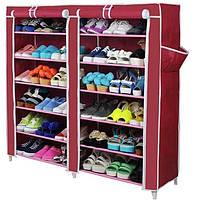 Тканевый шкаф для обуви из 2х секций Т-2712 Фиолетовый, фото 1