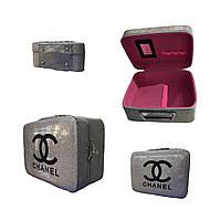 Бьюти кейс чемодан для косметики серебристый большой