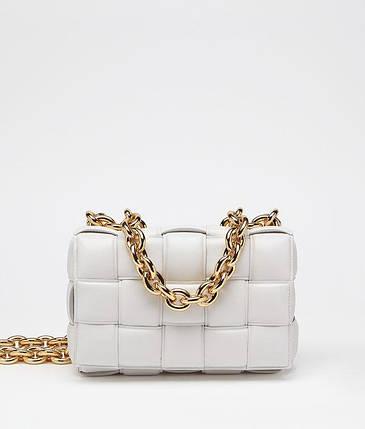 Сумка-клатч Bottega Veneta The Chain Cassette люкс копия Белая, фото 2
