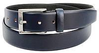 Мужской кожаный ремень для брюк Livergy темно синий