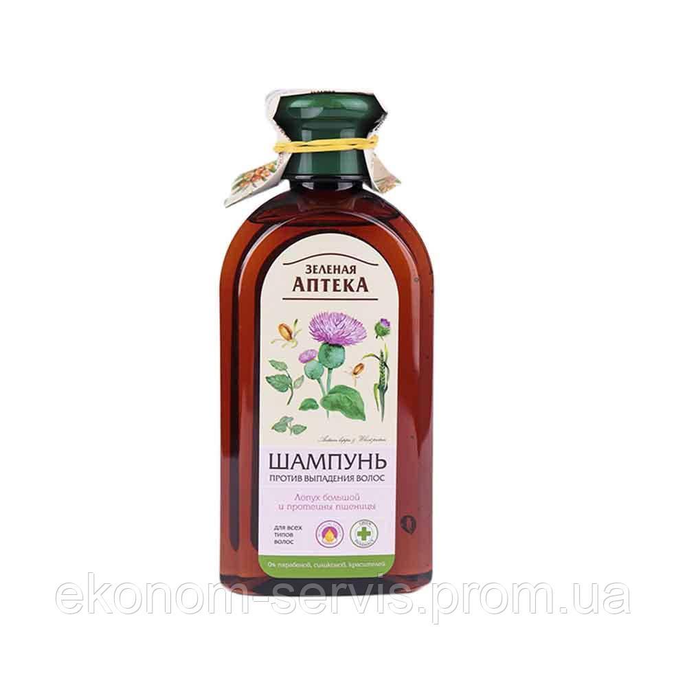 Шампунь Зелена Аптека проти випадіння волосся Лопух і протеїни пшениці 350 мл