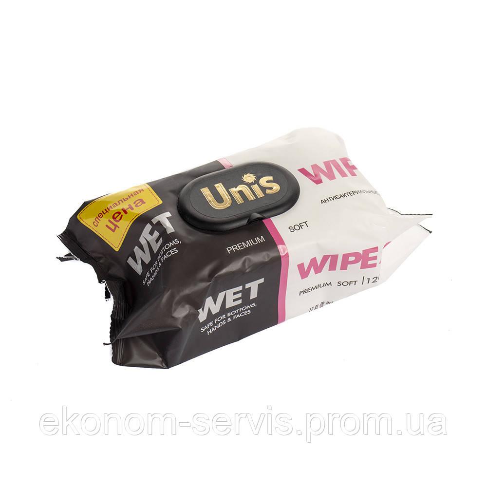 Серветки вологі для всієї родини Unis Premium Soft, без запаху з клапаном, 120шт