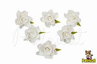 Цветы Розы Белые из фоамирана (латекса) 3 см 10 шт/уп, фото 1