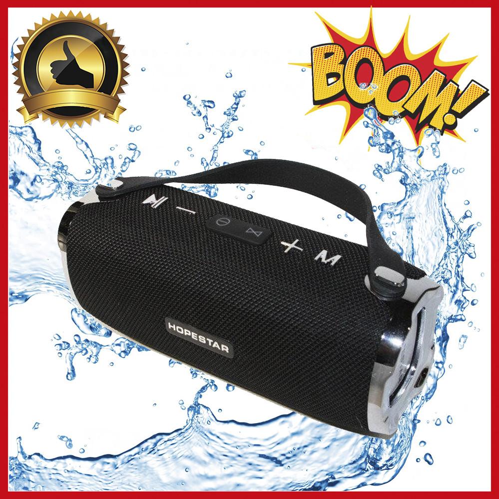 Портативная беспроводная Bluetooth колонка Hopestar H24 (Черная). Мощная, USB, FM, стерео акустика. Спикерфон