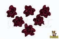 Цветы Розы бордовые из фоамирана (латекса) 3 см 10 шт/уп