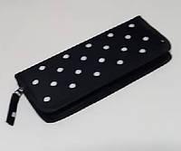 Чехол для парикмахерских ножниц черный в горошек 24*10*3см, фото 1