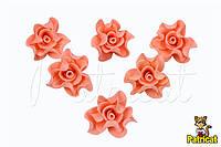 Цветы Розы Персиковые из фоамирана (латекса) диаметр 3 см 10 шт/уп