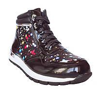 Ботинки-кроссовки девочкам, 32, 34, 36 Демисезонные черные утепленные сникерсы.