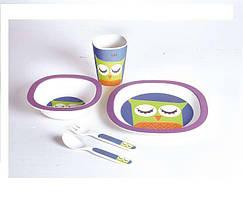 Детский набор посуды 5 пр сова Con Brio СВ-250