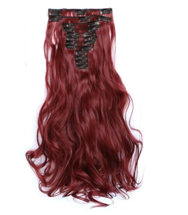 Накладные волосы локоны 12 прядей длинные - 55 см. цвет бургундии