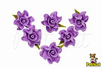 Цветы Розы сиреневые из фоамирана (латекса) диаметр 3 см 10 шт/уп