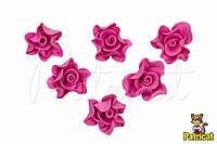 Роза темно-розовая из иранского фоамирана, диаметр 3 см 10 шт/уп