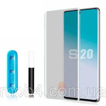 Прозрачное защитное стекло Full Glue + Lamp для Samsung (Самсунг) S20