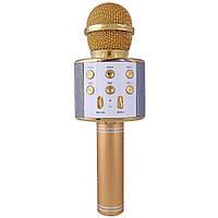 Колонка микрофон-караоке WS-858 Bluetooth (ЗОЛОТОЙ)
