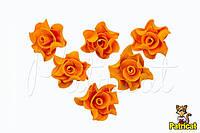 Цветы Роза оранжевая из фоамирана 3 см 10 шт/уп