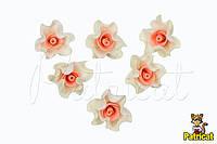 Цветы Розы айвори-персик из фоамирана (латекса) диаметр 3 см 10 шт/уп