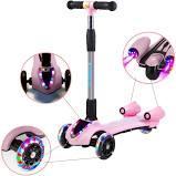 Детский самокат с турбиной и светящимися колесами музыкой и Bluetooth цвет розовый., фото 2