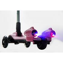 Детский самокат с турбиной и светящимися колесами музыкой и Bluetooth цвет розовый., фото 3