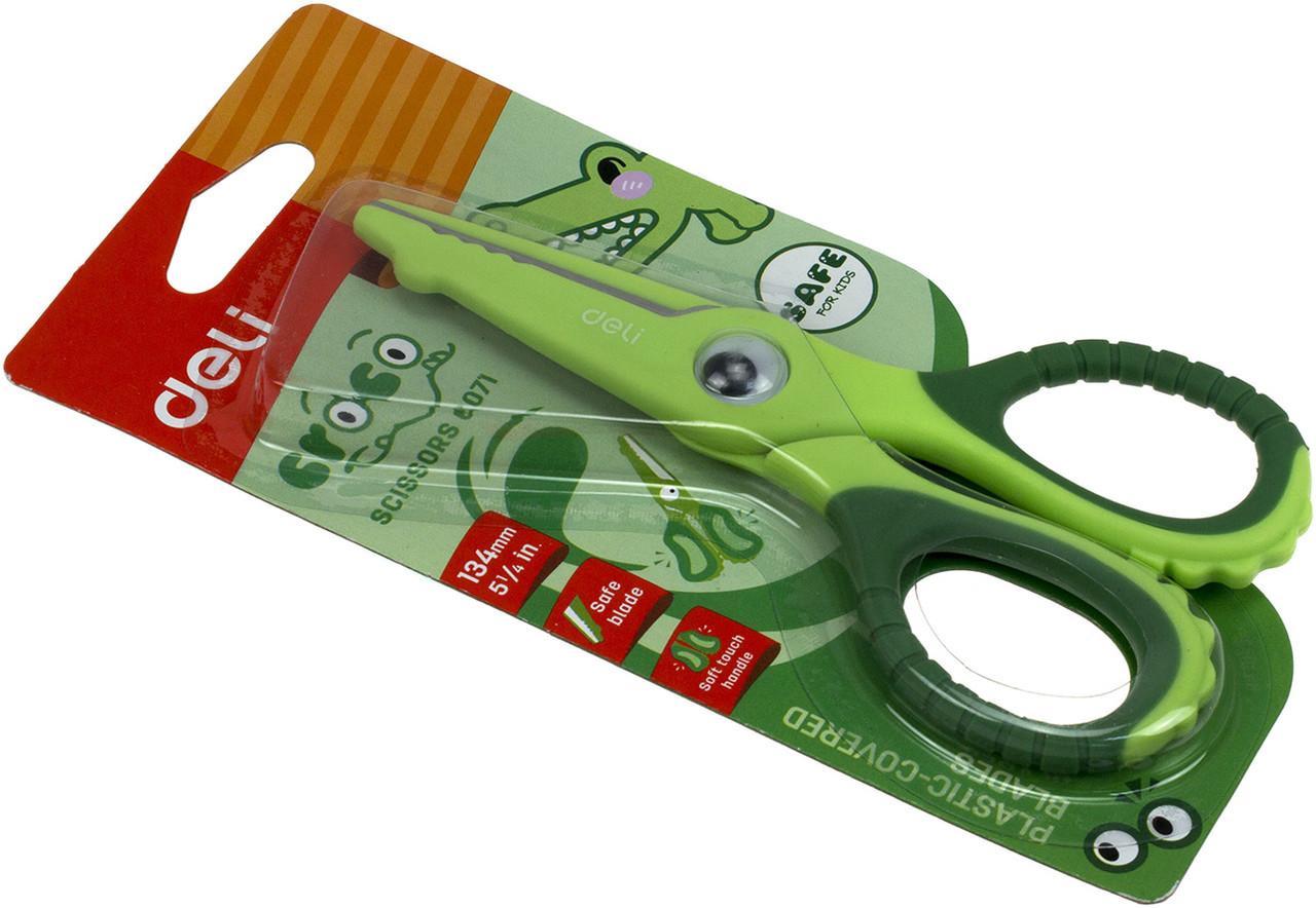 """Ножиці офісн. """"Deli"""" Кроко №6071E 13,4см безпечні"""