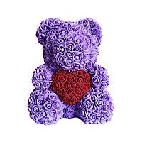 Мишко з троянд у коробці 40 см - ФІОЛЕТОВИЙ