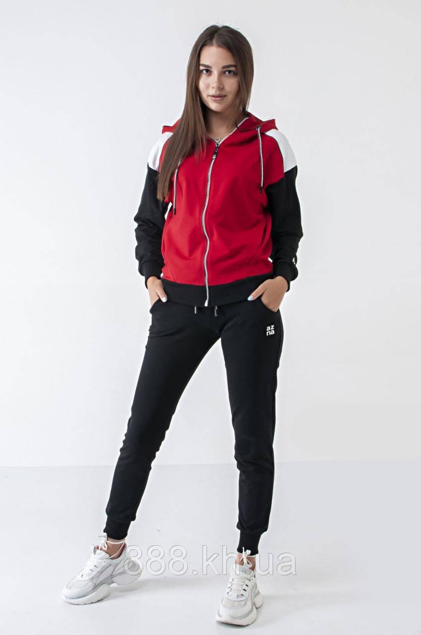 Спортивний жіночий костюм, стильний, (S/M/L/XL), колір чорний з червоним