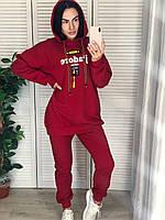 Жіночий утеплений спортивний костюм з капюшоном, червоний.Туреччина, фото 1