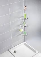 Полка угловая primanova в ванную комнату телескопическая прозрачная n06-16, алюминиевая