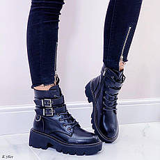 Ботинки женские черные, демисезонные из эко кожи. Черевики жіночі чорні з еко шкіри утеплені, фото 3