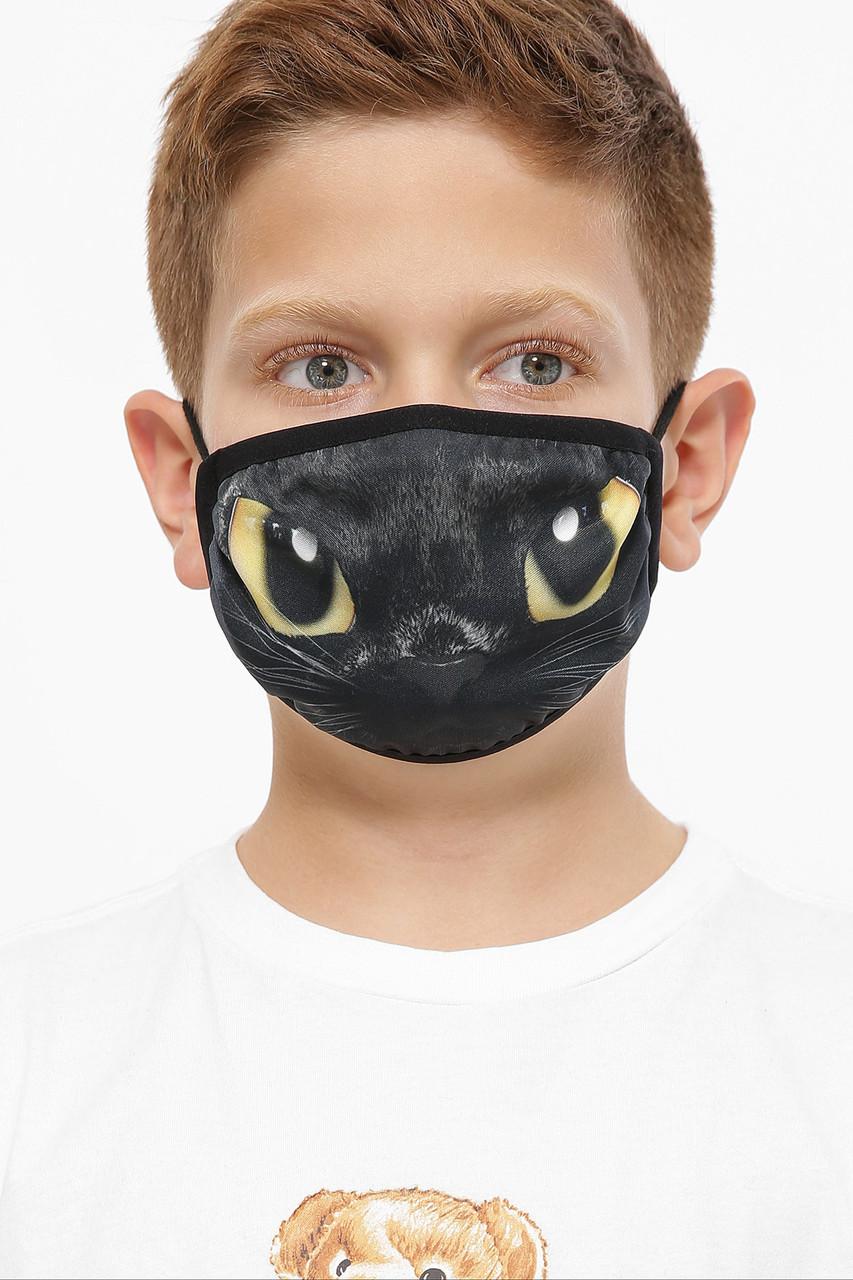 Детская защитная черная маска с принтом