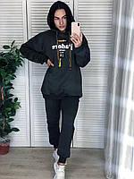 Женский утепленный хлопковый спортивный костюм с капюшоном, серый.Турция, фото 1