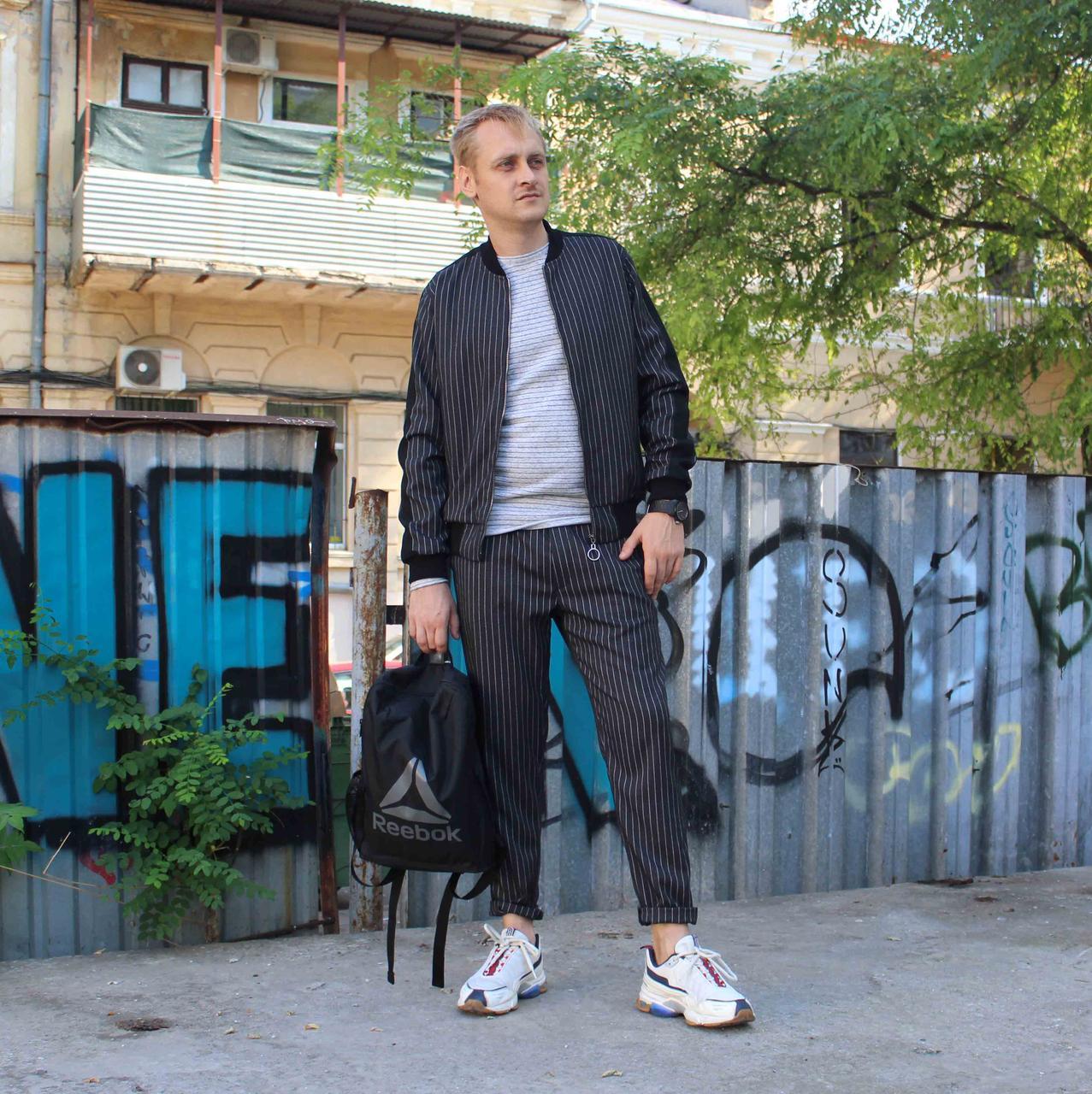 Мужской Casual спортивный костюм серый в полоску Shopchik
