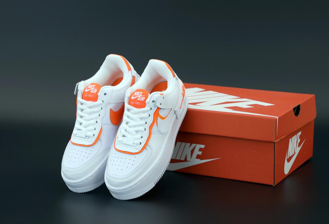Женские кроссовки Nike Air Force white/pink. ТОП Реплика ААА класса.