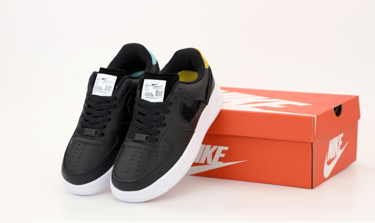 Женские кроссовки Nike Air Force. Рефлектив. Черные . ТОП Реплика ААА класса.