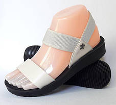 Женские Сандалии Босоножки Бежевые Летняя Обувь Резинка (размеры: 36,38,39), фото 3