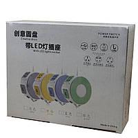 Сетевой LED фильтр-удлинитель на 3 розетки+2 USB K17