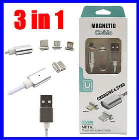 Магнитный Шнур Кабель для зарядки телефонов и планшетов 3 in 1 USB - micro USB/Lightning\Type-C