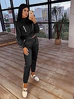 Жіночий комплект зі світловідбиваючими вставками: штани карго + бомбер (пудра, беж, сірий, хакі, гірчиця,чорний, фото 1