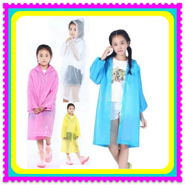 Плащ-дождевик детский EVA Raincoat. Универсальный размер (6-12 лет) плащ непромокаемый на кнопках с капюшоном