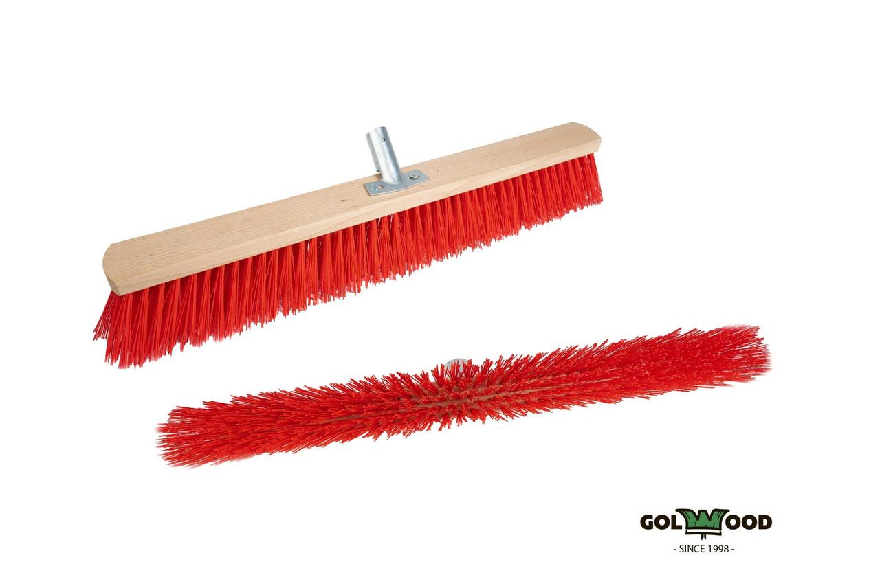 Щетка уличная для конусного черенка с металлическим креплением Golwood красная 50 см