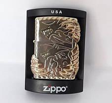 Зажигалка ZIPPO Бензиновая (Когти Дракона - Silver), фото 2