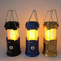 Кемпинговая Led лампа LL-5888 с солнечной батареей и имитацией пламини