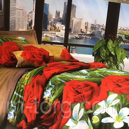 """""""красные розы"""" постельное белье 3D эффект 180/220, нав-ки 70/70, фото 2"""
