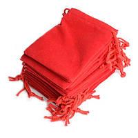 Подарочный бархатный мешочек 5 x 7 см красный