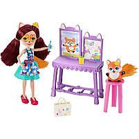 Кукла Enchantimals Энчантималс Художественная студия Лисички Фелисити со зверюшкой GBX03, фото 5