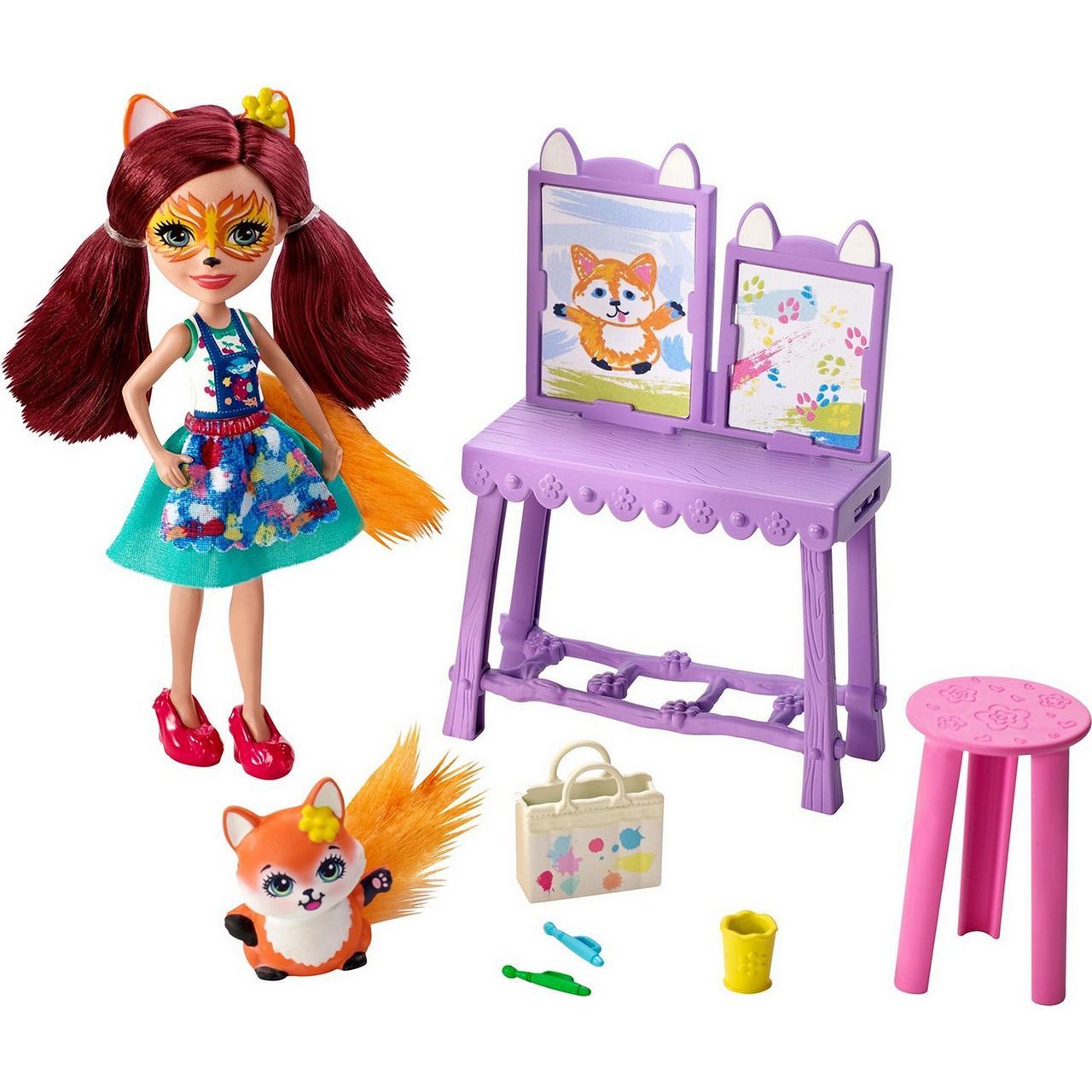 Кукла Enchantimals Энчантималс Художественная студия Лисички Фелисити со зверюшкой GBX03