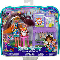 Кукла Enchantimals Энчантималс Художественная студия Лисички Фелисити со зверюшкой GBX03, фото 7