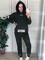 Жіночий бавовняний утеплений спортивний костюм, хакі.Туреччина, фото 1
