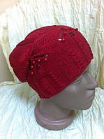 Ажурная  шапочка для девочек одинарная украшенная бусинками